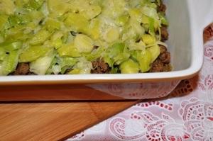 Ovenschotel Prei, Gehakt en Aardappelpuree